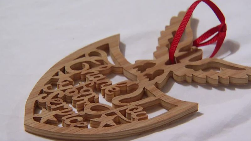 Christmas ornament carved by Steve Henry for Old Glory Honor Flight veterans