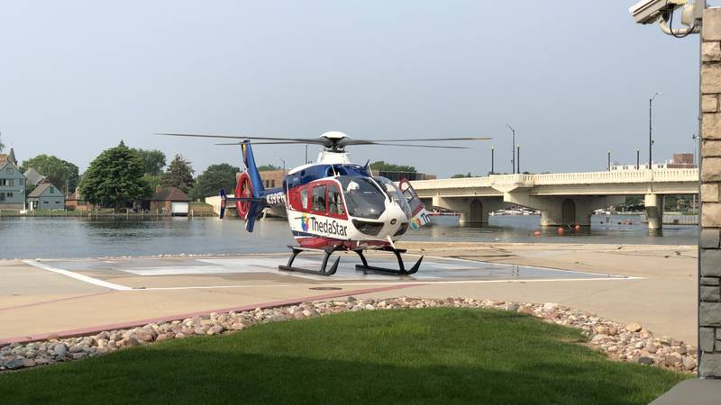 ThedaStar sits on the helipad at ThedaCare Regional Medical Center-Neenah.