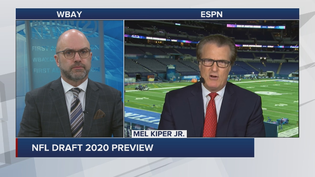 ESPN's Draft Analyst Mel Kiper Jr. speaks with WBAY Sports Director Chris Roth on Wednesday.