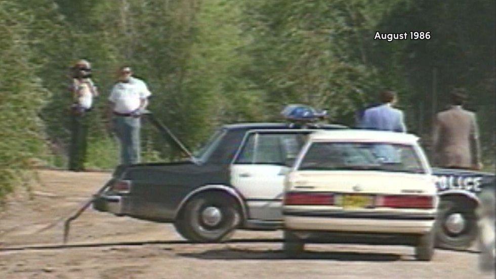 Police investigate the murder of Lisa Holstead. August, 1986.