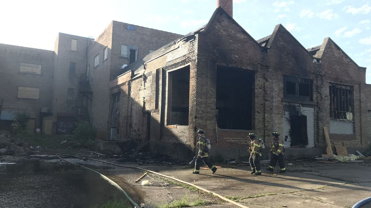 Fire guts the old Northern Casket Company building in Fond du Lac. June 2, 2020 (WBAY Photo)
