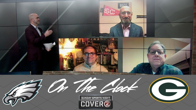 The 'On the Clock' panel features ESPN's Rob Demovsky, ESPN Wisconsin/The Athletic's Jason...
