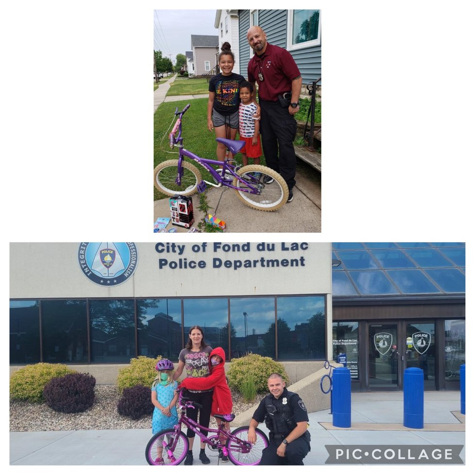 Two Fond du Lac Police officers came to the aid of two young girls after one's bike was damaged...