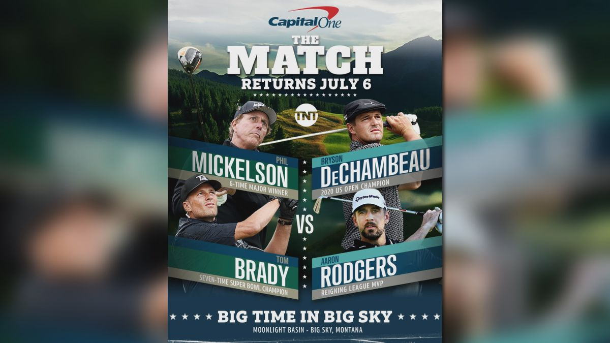 """""""The Match"""" will feature a foursome of Phil Mickelson and Tom Brady taking on Bryson DeChambeau..."""
