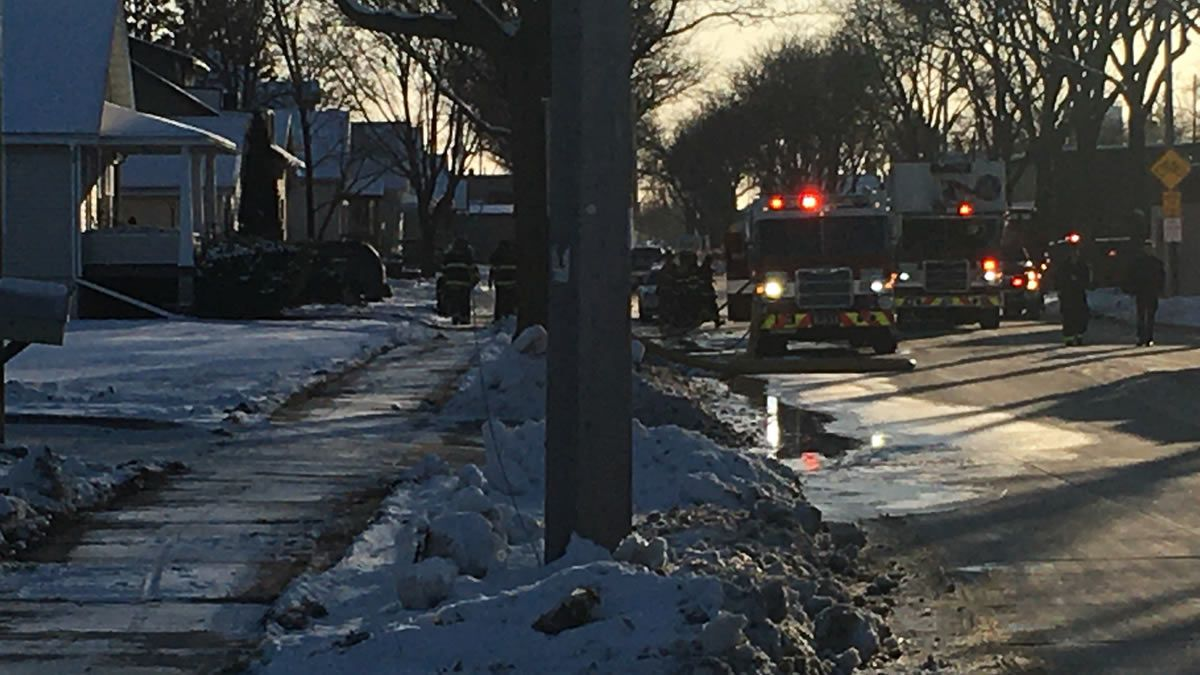 Green Bay Metro Fire Dept. on the scene of a garage fire on S. Broadway, where a 911 caller reported a man on fire on Dec. 11, 2019 (WBAY photo)