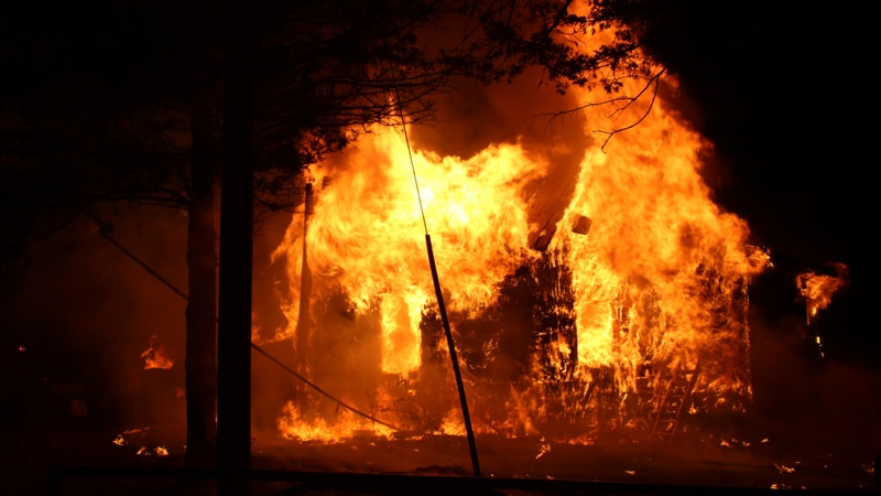 Fire engulfs a Town of Harris home on Monday, December 14, 2020.