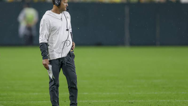 Green Bay Packers' defensive coordinator Joe Barry during NFL football training camp at Lambeau...