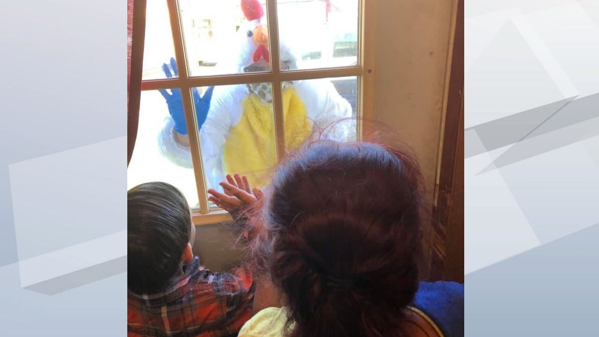 Manawa Elementary School health aide Julie Peterson visits and entertains students in costume (photo provided)