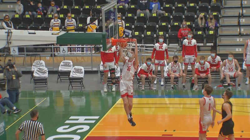 Kimberly senior forward Grant Asman throws down a dunk in the Papermakers 63-42 win on Saturday...