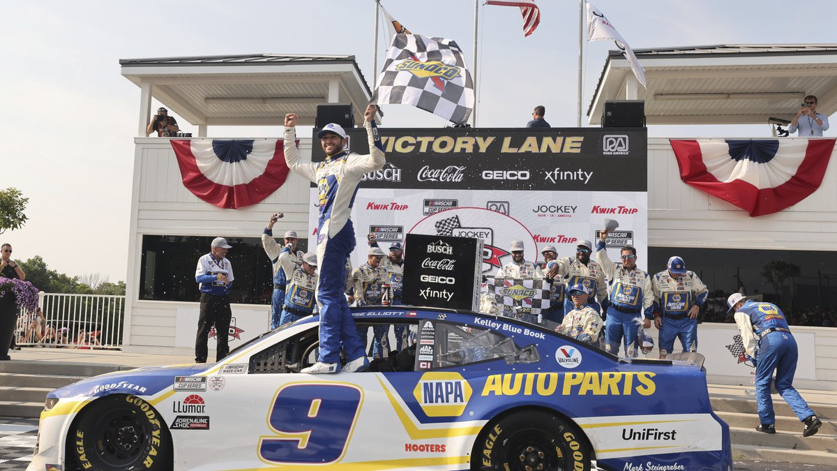 Chase Elliott (9) celebrates his victory in a NASCAR Cup Series auto race Sunday, July 4, 2021,...