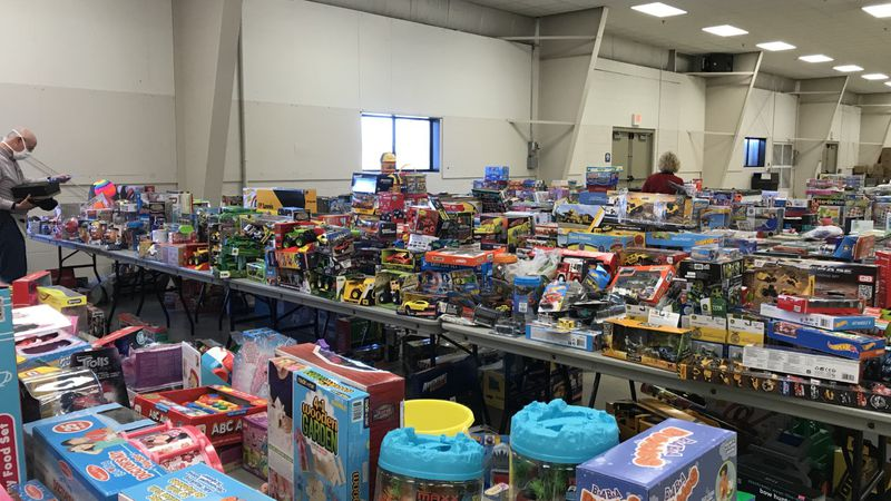 Hundreds of toys fill tables in the Expo Center at the Fond du Lac County Fairgrounds for The...