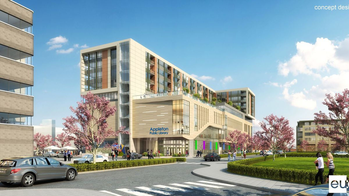 Artist concept of mixed-use library and apartment/condo development (image provided by City of Appleton)