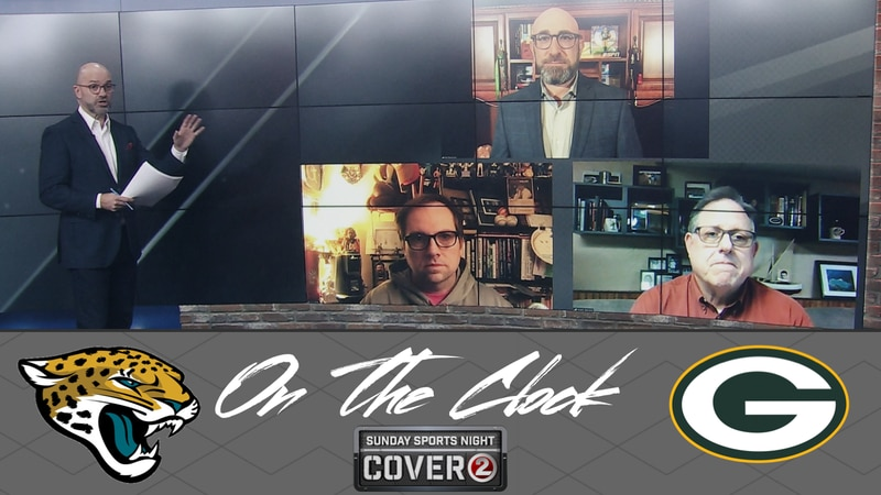 The 'On the Clock' panel features ESPN's Rob Demovsky, ESPN Wisconsin's Jason Wilde and WTAQ...