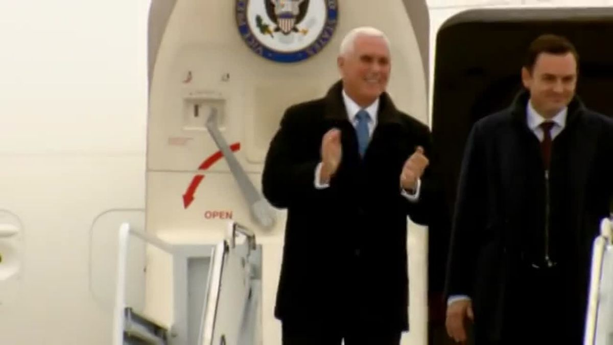 Vice President Mike Pence arrives in Green Bay with Rep. Mike Gallagher. Nov. 20, 2019. (WBAY Photo)