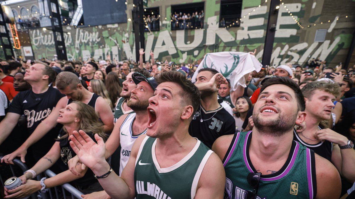 Fans watch Game 6 of the NBA basketball finals between the Milwaukee Bucks and the Phoenix Suns...