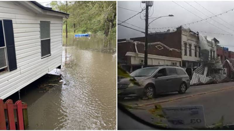 Flooding (left) in Robert, Louisiana, and storm damage in Ponchatoula as seen Aug. 30, 2021, in...