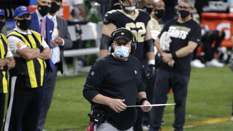 New Orleans Saints head coach Sean Payton watches from the sideline in the second half of an...