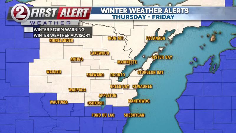 First Alert Forecast: Winter Storm Warning, Winter Weather Advisory issued for the viewing area