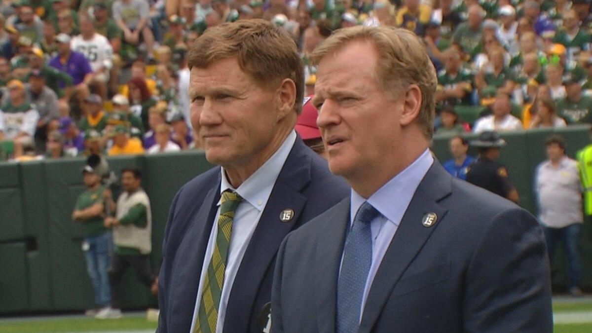Mark Murphy, Packers President & CEO stands with NFL Commissioner Roger Goodell during the Packers vs. Vikings game on Sept. 15 at Lambeau Field.