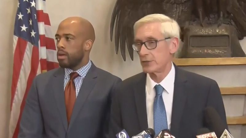 Wisconsin Gov. Tony Evers (right) and Lt. Gov. Mandela Barnes (left) in an undated file image