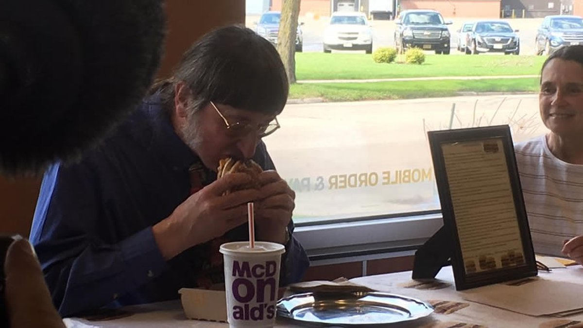 Don Gorske eats his 30,000th Big Mac at a McDonald's restaurant in Fond du Lac on May 4, 2018...