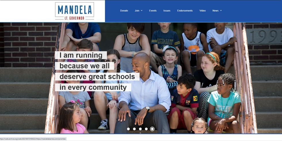 Mandela Barnes' campaign website one month ago shows multiple tabs at the top, a gallery of...