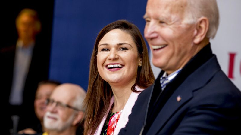 In this Friday, Jan. 3 2020 file photo, Democratic presidential candidate Joe Biden, right, and...