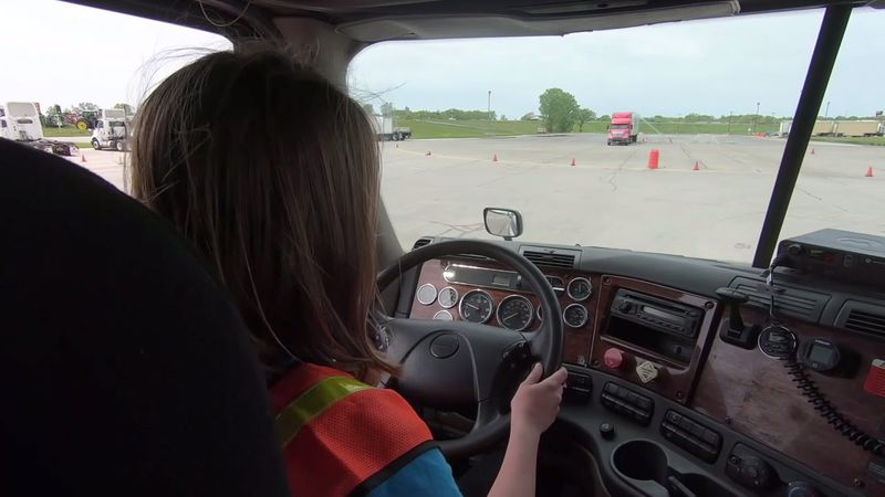 A student takes the commercial truck driving course at Fox Valley Technical College (WBAY photo)
