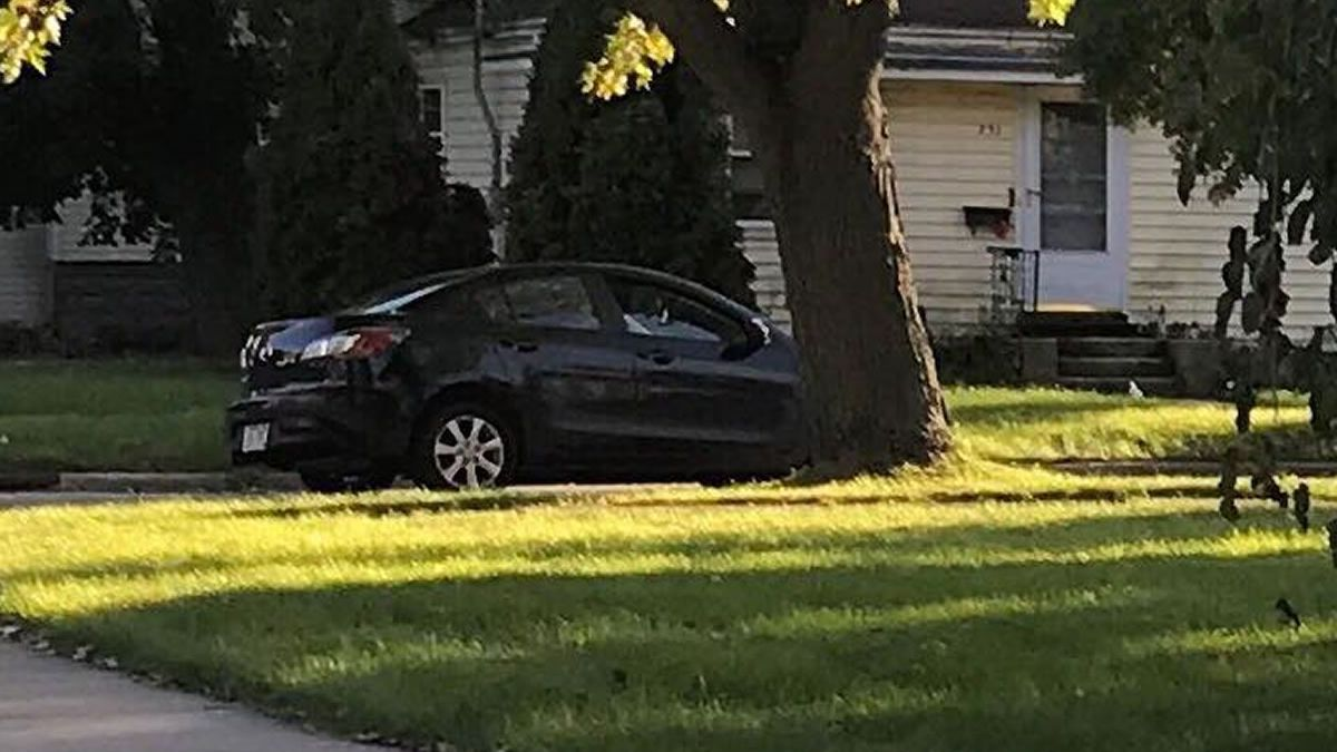 Scot Worden took a picture of the car he says hit him on Meade St. on October 14, 2019 (photo via Facebook)