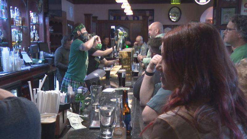 People patronized Saint Brendan's Inn in Green Bay on St. Patrick's Day amid a pandemic.