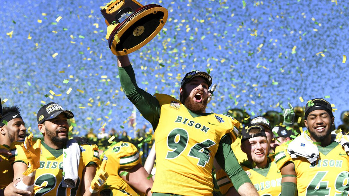 In this Jan. 5, 2019 file photo, North Dakota State defensive end Stanley Jones (94) hoists the...