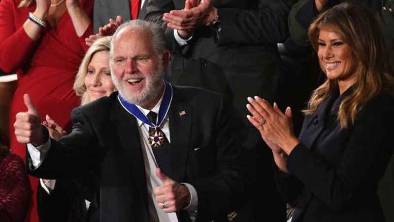Rush Limbaugh receives Presidential Medal of Freedom at State of the Union. (CNN)