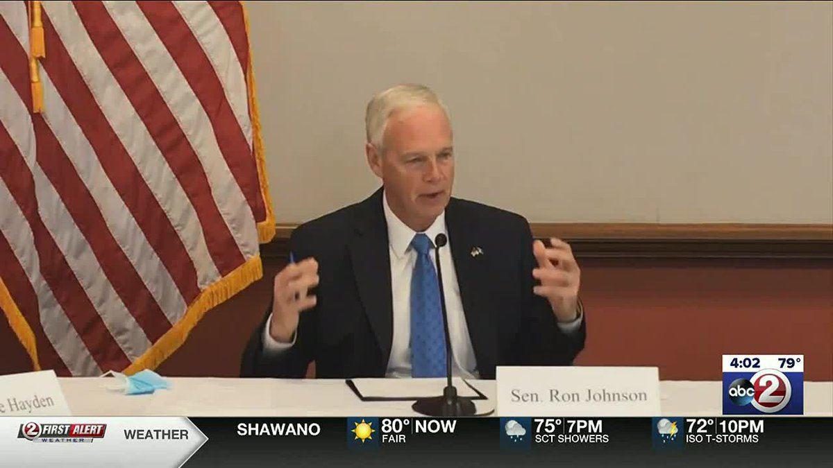 Sen. Ron Johnson (R-Wisconsin) holds an event highlighting rare side effects of COVID-19 vaccines