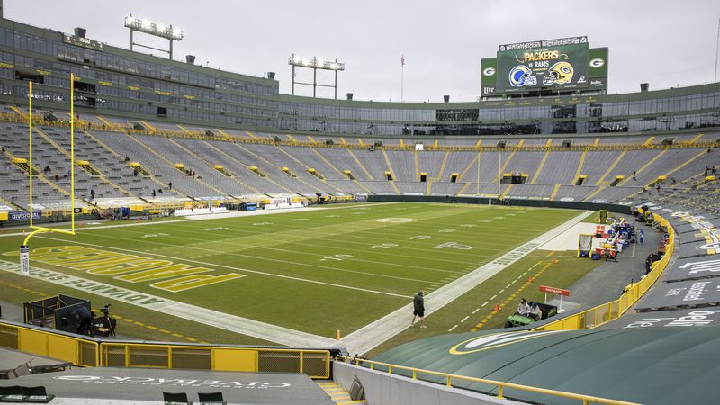 A general view of Lambeau Field before an NFL divisional playoff football game between the Los...