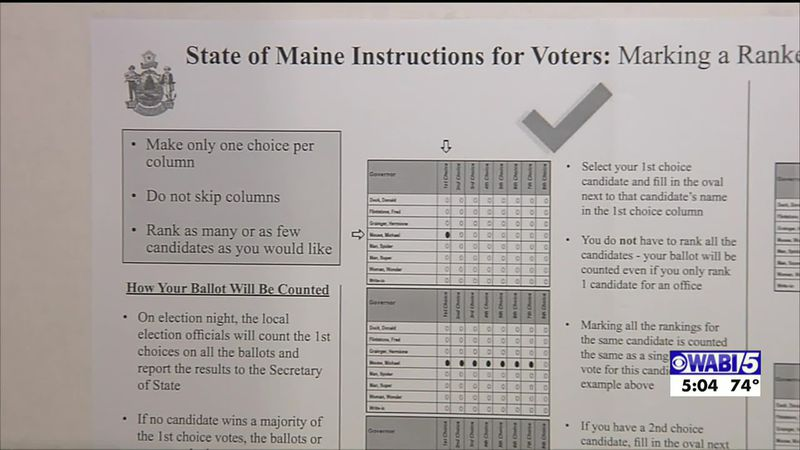 Ranked-choice voting ballot from Maine election (WABI)
