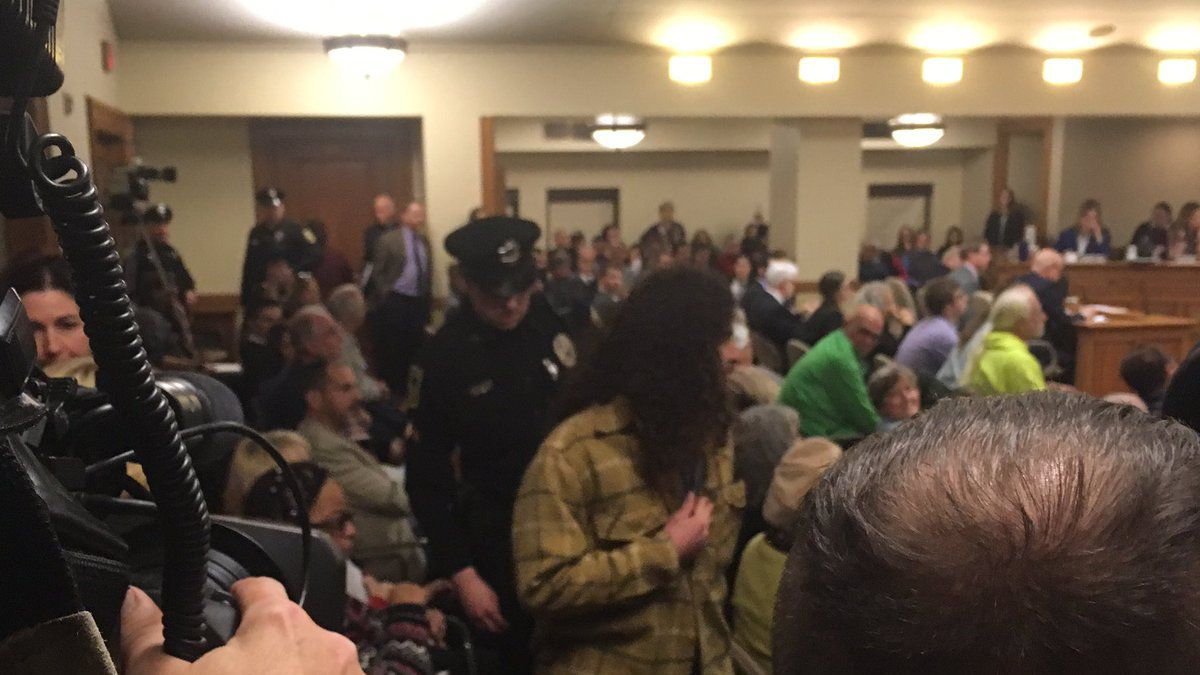 Police remove protesters disrupting a legislative hearing in Madison on Dec. 3, 2018 (WBAY photo)