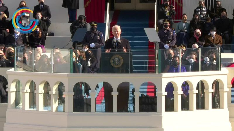 Biden spoke before masked lawmakers and National Guard troops at his inauguration ceremony.