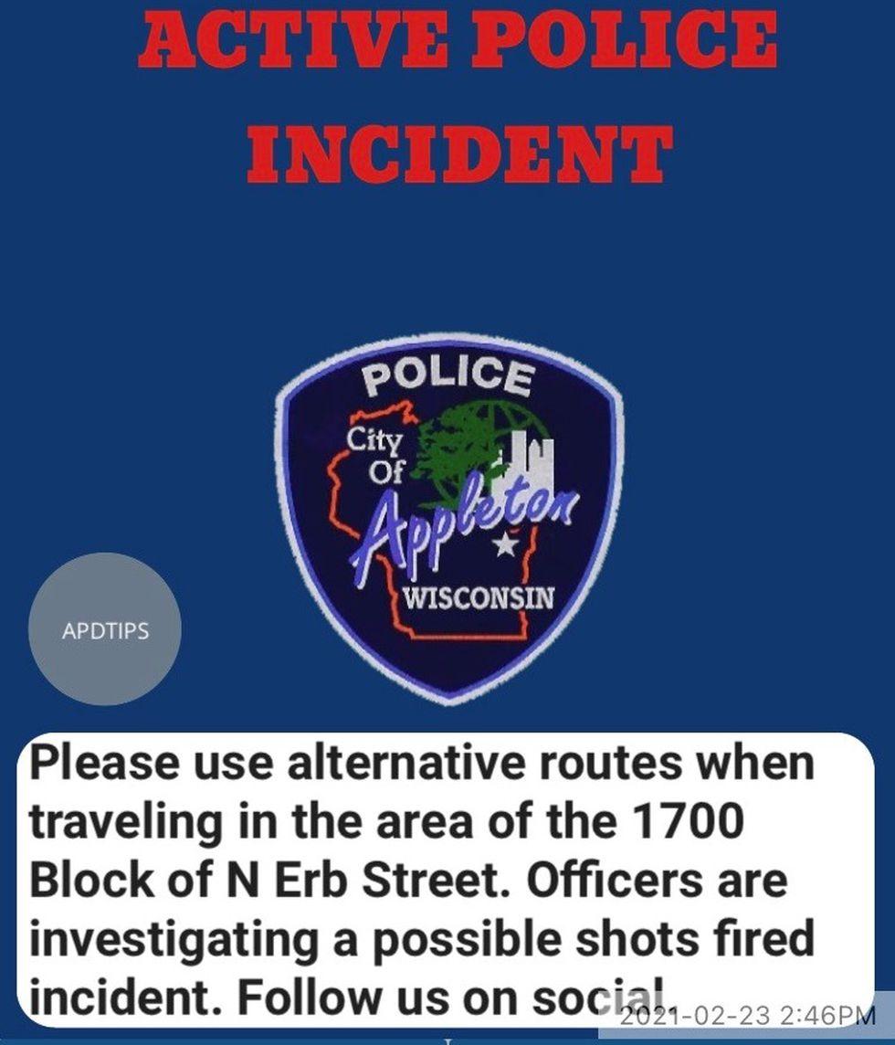 Alert sent by Appleton Police