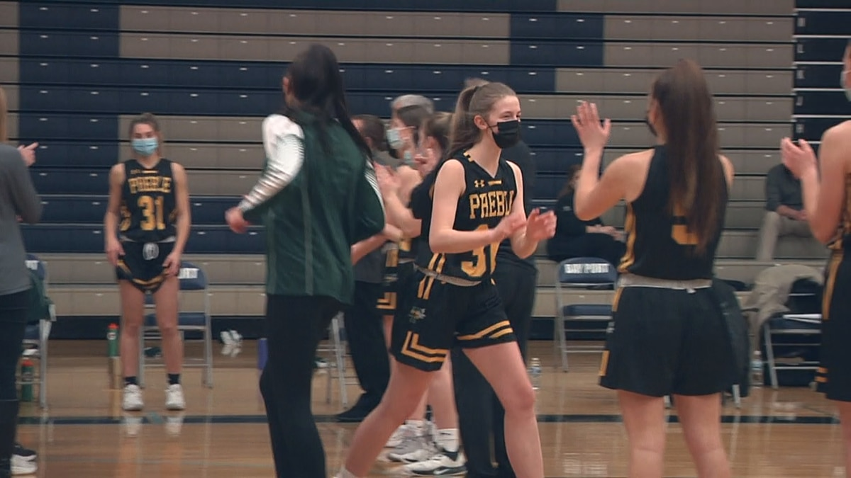Preble girls basketball gets a 55-51 win against Bay Port on Tuesday night.