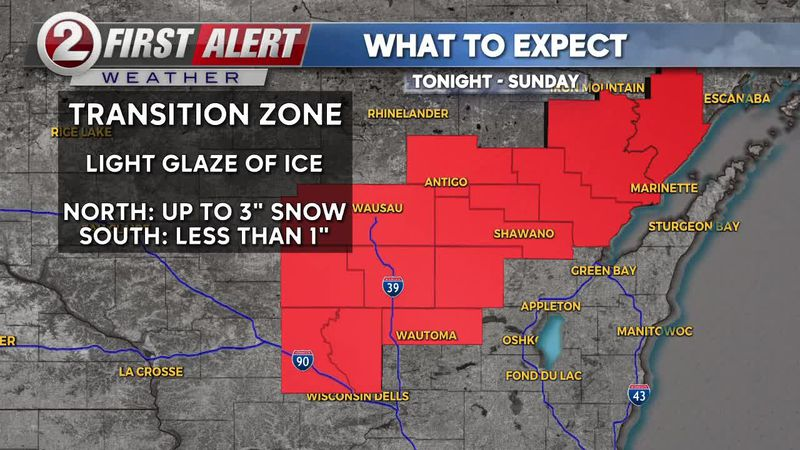 First Alert: A Winter Weather Advisory is in place to the north during the overnight hours