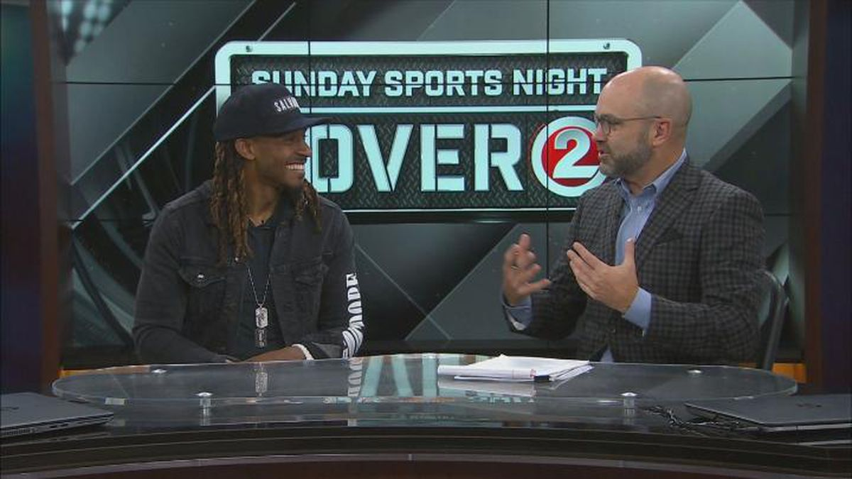 Packers defensive back Tramon Williams (left) joined WBAY Sports Director Chris Roth (right) on...