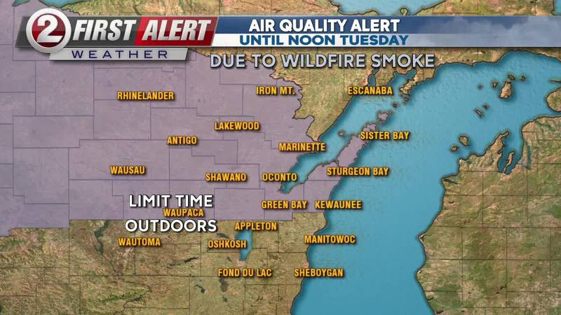 First Alert Forecast:  Pleasant evening, air quality alert in effect until Tuesday afternoon