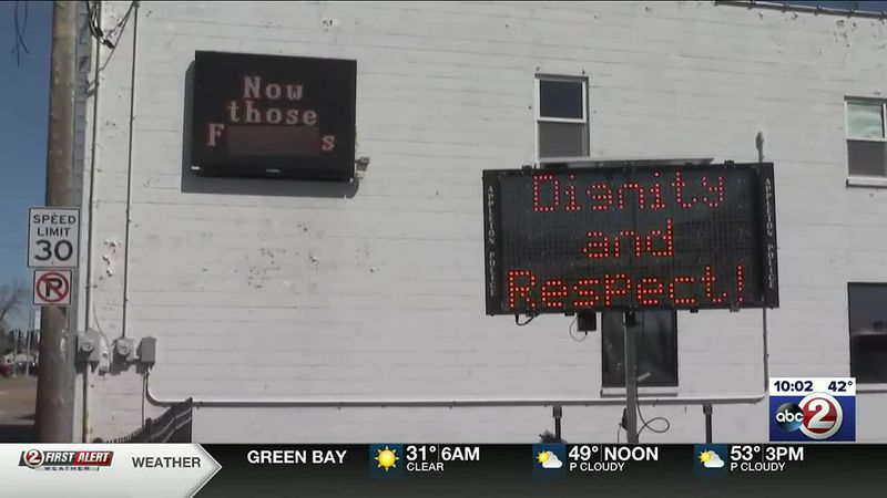 The City of Appleton posted its own message outside a building with a sign displaying...