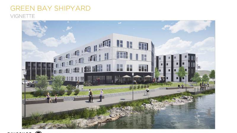 Renderings of the two building, 225 unit apartment complex for the Shipyard District.