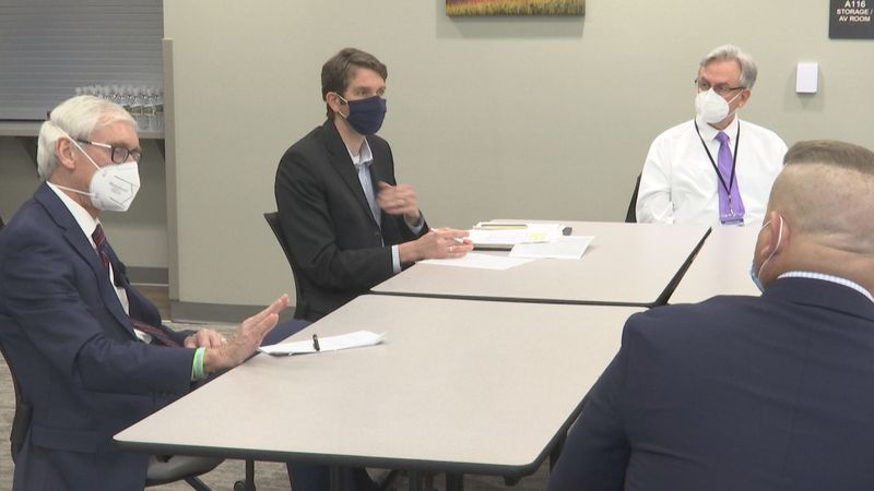 Governor Tony Evers was in the Shawano County on Friday, March 26 to discuss telehealth and...