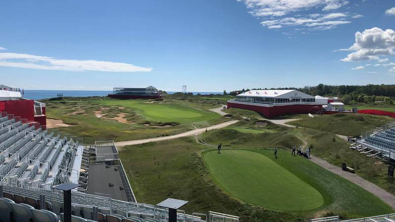 A view from the stands set up on the first tee at Whistling Straits.