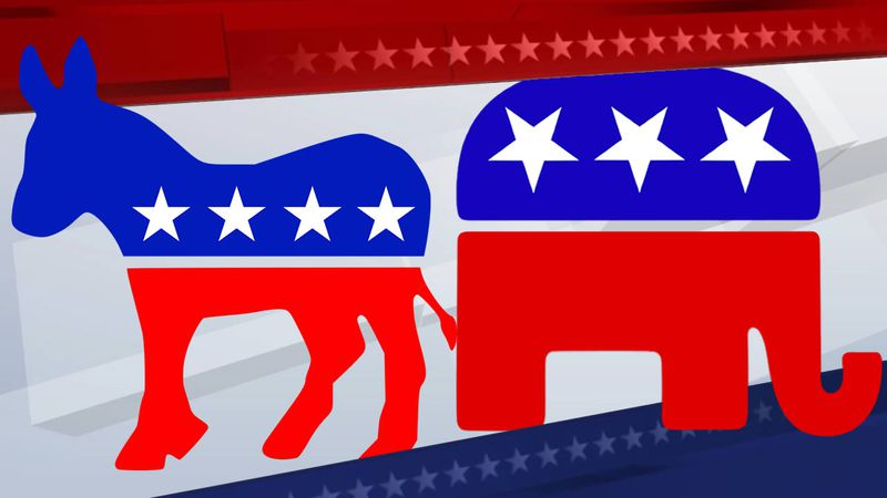 Symbols of the Democratic and Republican parties
