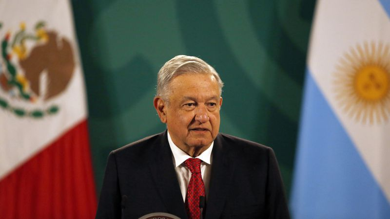 Mexican President Andrés Manuel López Obrador gives his daily, morning press conference at the...