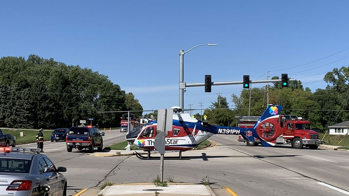 ThedaStar medical helicopter lands at the scene of a crash in Buchanan on Sept. 18, 2020. A bicyclist was hit by a minivan and suffered critical injuries