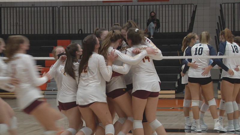The Luxemburg-Casco girls volleyball team celebrates after defeating Lakeside Lutheran in the...